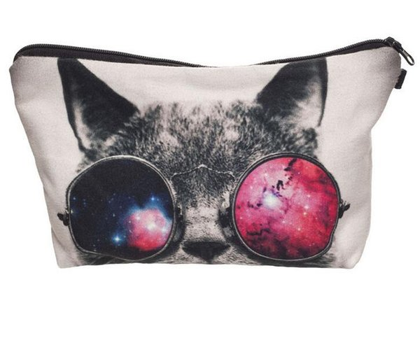 Galaxy sunglasses cat 3D Printing cosmetic bag organizer toiletry bag pencil makeup bags pouch 10pcs/lot free ship