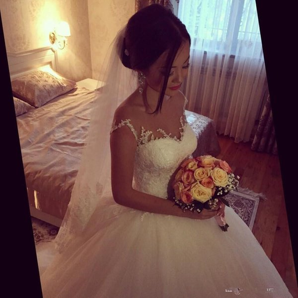 2017 A-line White elegant simple Sheer neck beadings belt corset wedding dresses Floor Length lace Beach plus size Country Bridal Gowns