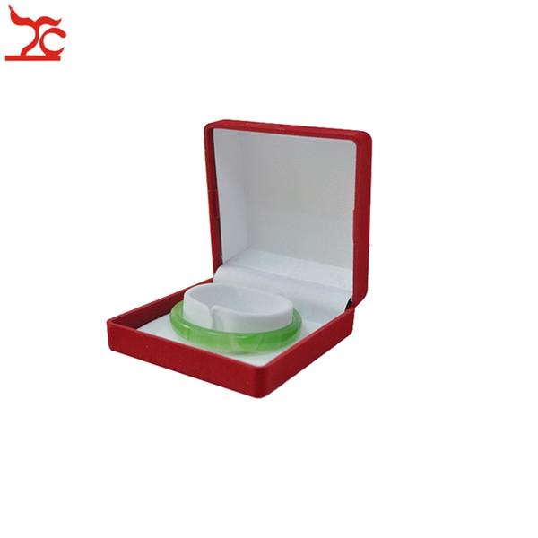 2Pcs Square Jewelry Display Case Red Velvet Wedding Bracelet Package Caseket White C Bangle Jade Holder Storage Box 9*9*3.9cm