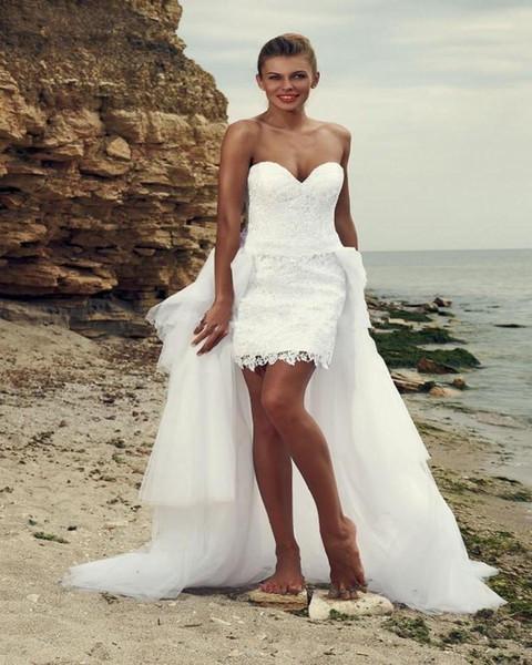 2017 White Tulle Lace Wedding Dresses A Line Short Front Long Back Vintage Appliqued