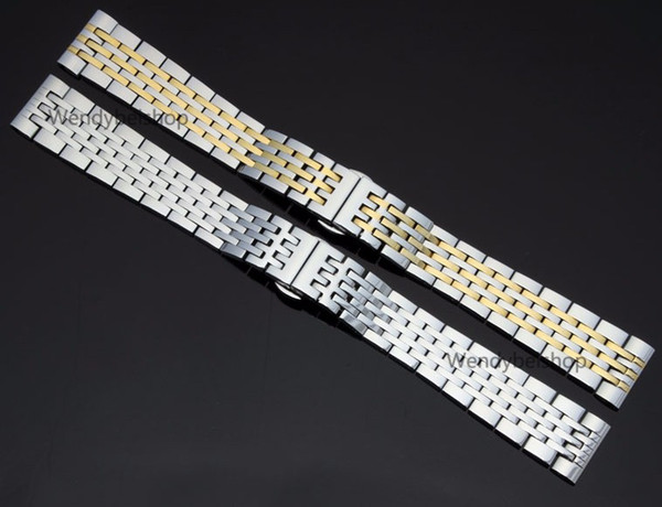 14 16 17 18 19 20 21 22 23 24mm Men Lady Silver Two Tone Gold 316L Solid Stainless Steel Bracelet Watch Band Strap Belt Luxury