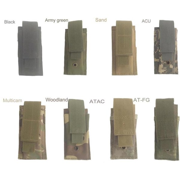 Tactical Single Pistol Magazine Pouch Knife Flashlight Sheath Airsoft Hunting Ammo Molle Pouch