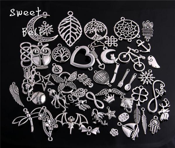 100pcs / lot Mélangé Quatre couleurs Plaqué Européenne Bracelets Charm Pendants Bijoux Fantaisie Décoration Bricolage Charms Handmade 715