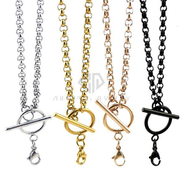 Free shipping silver 4mm rolo chain 14-24 inch can be choose stainless steel rolo chain with toggle and lobster clasp