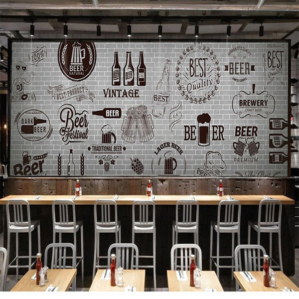 3d Stereo Custom Gray Cement Black White Brick Wall Retro Wallpaper Bar Grill Fast Food Restaurant Beer Shop Wallpaper Mural It Hd Wallpapers Kareena