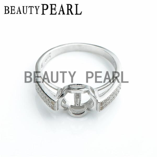 Bulk of 3 Pieces Ring Findings Cubic Zirconia 925 Sterling Silver Ring Base for DIY Pearl Jewellery Mount
