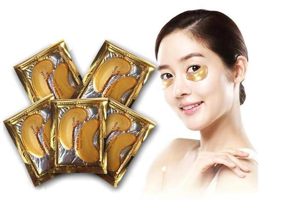 top popular Anti-Wrinkle NEW Crystal Collagen Gold Powder Eye Mask Golden Mask stickFree DHL Shipping 2021