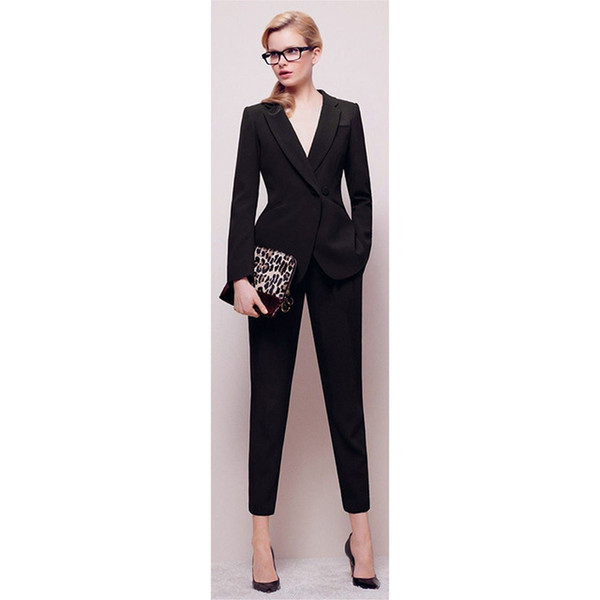 Jacket+Pants Womens BusinessABC Suit Black Long Sleeves Female Office Uniform Ladies Formal Trouser 2 Piece Sets Double Breasted