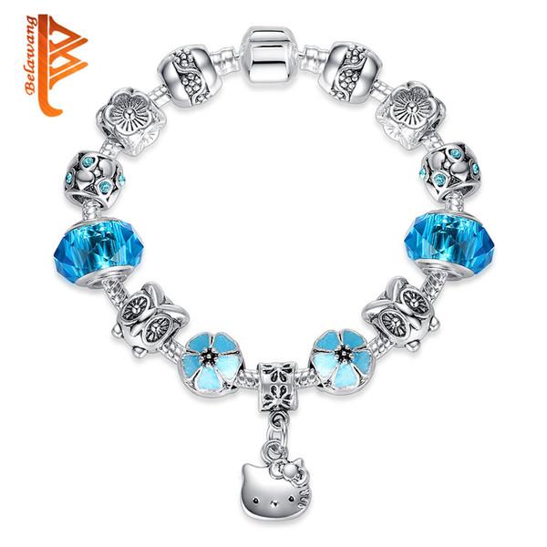 BELAWANG Lovely Cute Kitty Charm Bracelets Bangles With Blue Murano Glass Beads Bracelet for Women Children Girl DIY 925 Silver Jewelry Gift