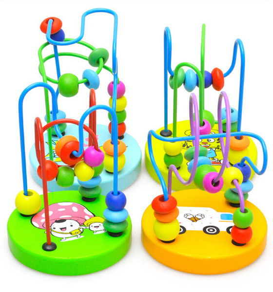 Wholesale- SUN & CLOUD Game Baby Children Wooden Toy Mini Around Beads Wire Maze Educational