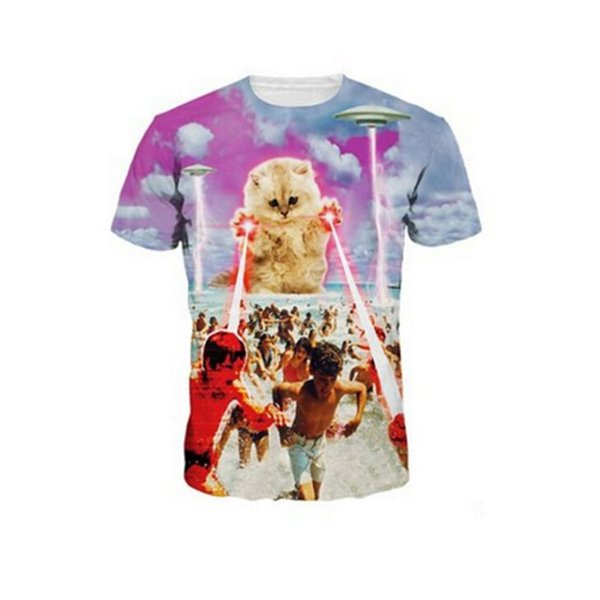 Toptan-Yeni Stil Marka Giyim Lazer Kedi 3D Baskı Erkekler T Gömlek T-Shirt Moda T Gömlek Erkekler Casual Tshirt Homme Camiseta