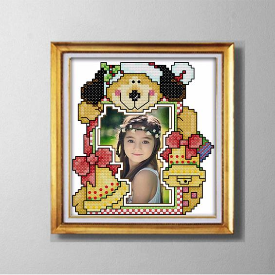 SNOWMAN photo frame lovely cartoon painting counted printed on canvas DMC 14CT 11CT Cross Stitch Needlework Set Embroidery kit