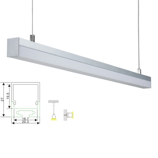 10 X 1M sets/lot cover line led aluminum profile and Anodized sliver alu led channel for pendant or recessed wall lights