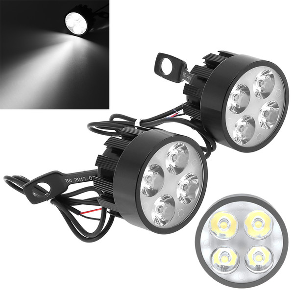 best selling New Arrival 2pcs 12W 6000K LED Four Bead Ultra Bright Waterproof Spotlight Headlamp for Motorcycle MOT_20S