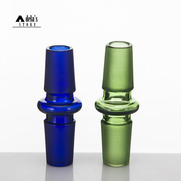 Convertidor de adaptador de vidrio de color azul verde 10 mm 14 mm 18 mm Conjunto de empalme de vidrio macho hembra adaptadores Bong 14.4 18.8 Dab Rigs 046