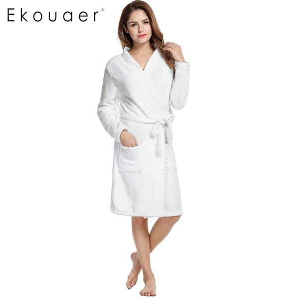 2d41f3272f Wholesale- Ekouaer Winter Bath Robe Sleepwear Women Coral Velvet Bathrobes  Kimono Dressing Nightgown For Ladies