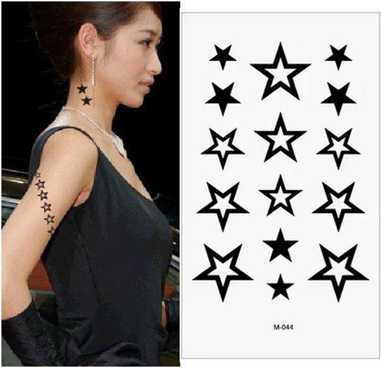 Großhandel- (Mindestbestellmenge $ 0,5) Temporäre Tätowierung Für Mann Frau wasserdichte Aufkleber Make-up Maquiagem bilden STAR STARS BLACK Tattoo MM044