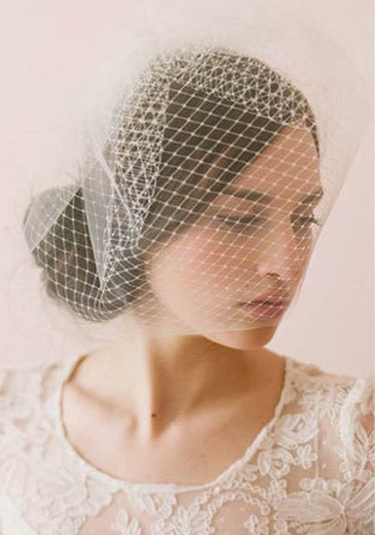 2017 Bridal Headbands Hot Sale vestidos de noiva Couture Bridal Veil Headpieces Handmade White Birdcage Veils for Bride Hat Accessories