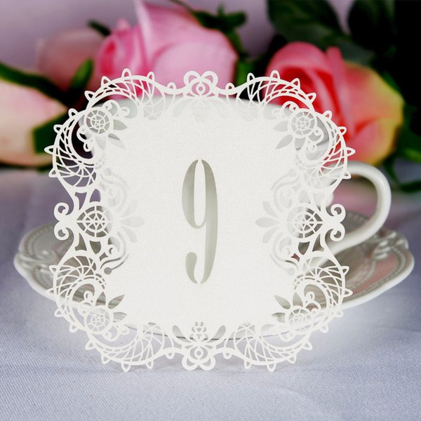10pcs/set Wedding Table Number Table Cards Hollow Laser Cut Card Numbers Vintage Wedding Decoration Event Party Supplies
