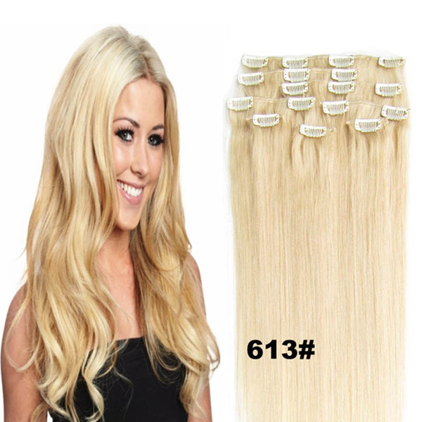 best selling 70g 100g 120g Blond Black Brown Silky Straight Brazilian indian Remy Clip in Human Hair Extensions free shipping