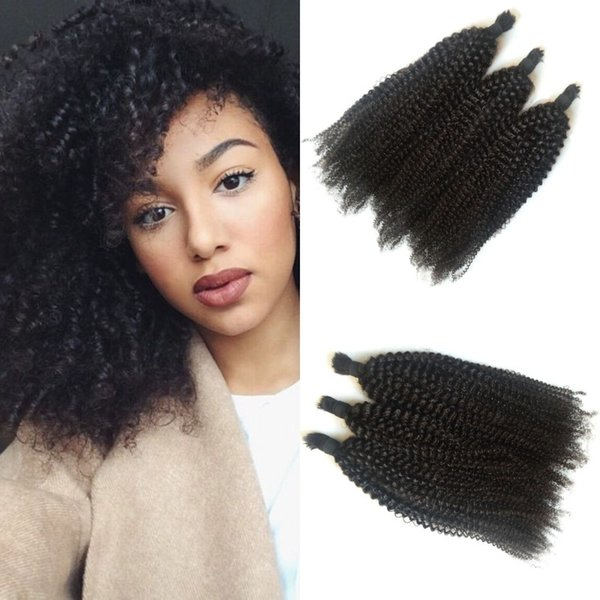 Brazilian Human Bulk Hair 3pcs lot Unprocessed Human Hair Natural Black Kinky Curly Braiding Hair For Black Women G-EASY