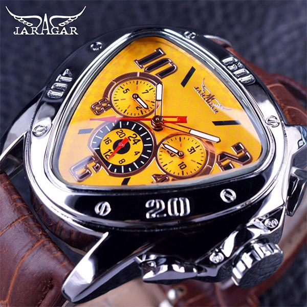 Jaragar Geometric Triangle Case 3 Dial Design Watches Brown Leather Strap Top Brand Fashion Sport Men Wristwatch Luxury Automatic Watch