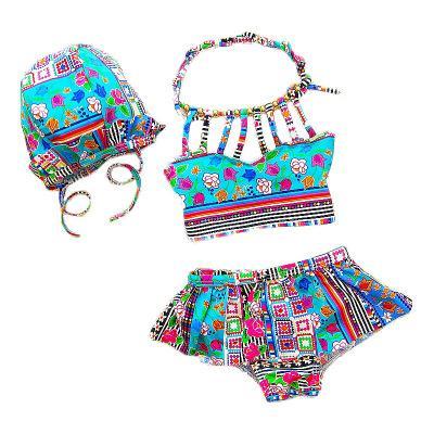 Kids Girls Bikini Swimwear Baby Girls Floral Swimsuit Toddler Hat + Top + Pants 3pcs Set 2017 Princess Bathing Tankini Beach Clothes B431