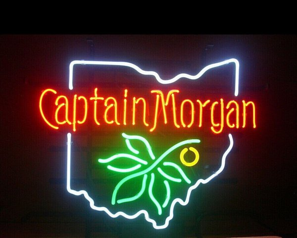 Fashion New Handcraft CAPTAIN MORGAN RUM OHIO STATE BUCKEYE Real Glass Tubes Beer Bar Pub Display neon sign 19x15!!!