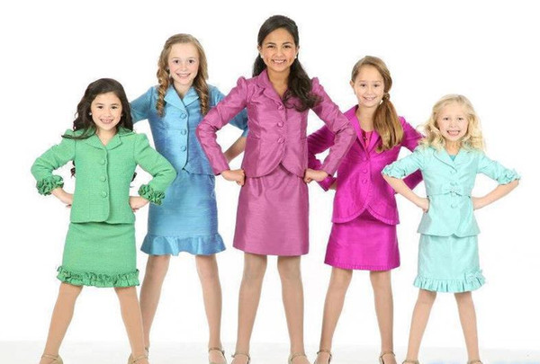 Best Selling Girl's Kids Custom Made Ruffles Taffeta Formal Dresses for Kids Beauty Pageant Interview Suit