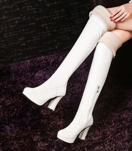 Wholesale New Arrival Hot Sale Specials Super Fashion Influx Warm Martin Leather Knight Platform Plain Platform Heels Knee Boots EU34-43