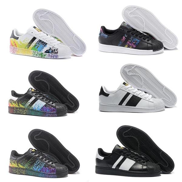 2017 36-45 Originales Superstar Holograma Blanco Iridiscentes Junior Superstars 80s Pride Zapatillas de deporte Super Star Mujer Hombre Deporte Zapatos casuales