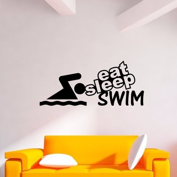 Eat Sleep Swim Funny Word Lettering Vinyl Decorative Wall Stickers Art Decals For Home Wallpaper DIY