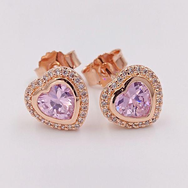 Valentines Day prata de 925 grânulos Sparkling Love, Pink Rose Pandora único estilo europeu Pandora Jóias 280568PCZ rosa banhado a ouro Studs