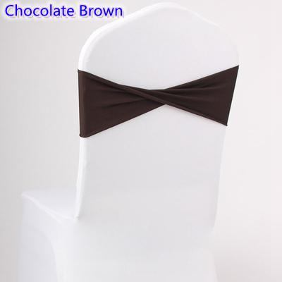 Chocolate brown colour spandex sashes lycra sash for chair cover spandex bands bow tie For Wedding Decoration banquet design for sale