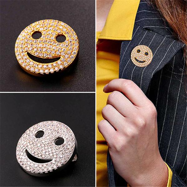 U7 Mode Neue Luxus Zirkonia Lächeln Form Brosche Schmuck für Frauen / Männer Gold / Platin Überzogene Lächeln Pin Broschen Perfekte Geschenk B2471