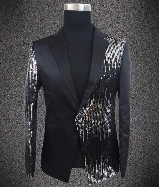 Wholesale- Plus size sequins blazer male singer DJ formal dress the groom paillette costume Wedding Slim Fit Groom jacket For Men