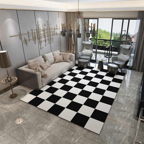 Großhandel Europa Teppiche Große Schlafzimmer Teppiche Waschbar Matte  Schwarz Weiß Rechteck Teppich Wohnzimmer Geometrische Dekoration Teppiche  Von ...