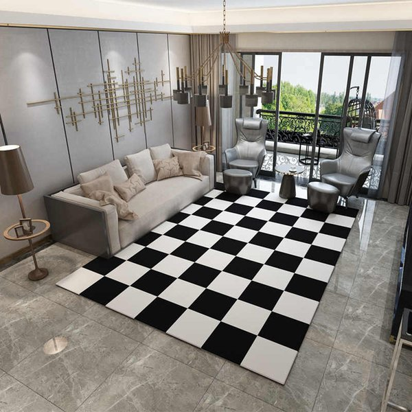 Europe Carpets Large Bedroom Area Rugs Washable Mat Black White Rectangle  Carpet Living Room Geometric Decoration Carpets Shaw Commercial Carpet ...