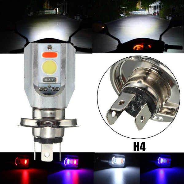 top popular 100piece lot H4 Motorcycle COB LED Headlight Hi Lo Beam Front Light Bulb Lamp 3 Colors 6500K 2021