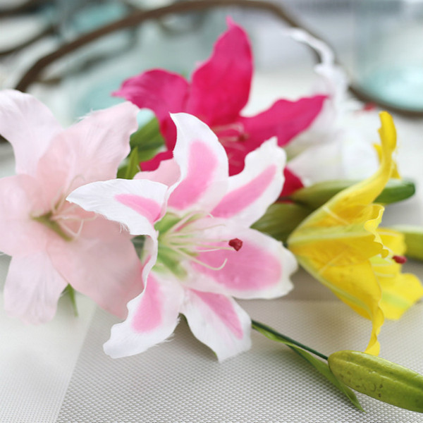 10pc/lot 62cm Single Stem Lily Silk Artificial Flowers W/buds Decorative Flower Real Touch Wedding Flower Decoration 5 Colors