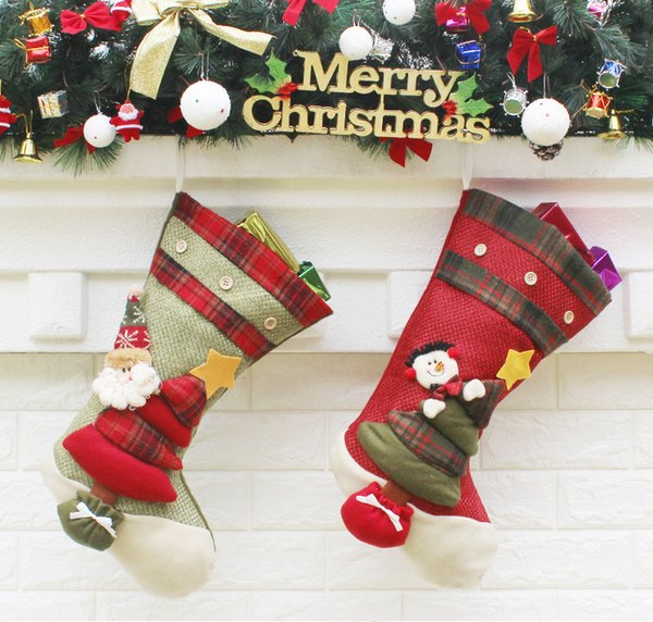 Large Vintage Christmas Stockings Filler Artificial Christmas Tree  Ornaments Christmas Decorations For Home Bar Shop Decoration Christmas  Decorations