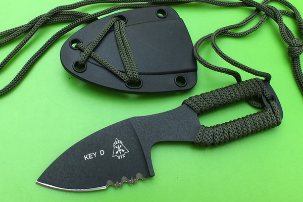 TOPS Key Knife D Neck Knife Fixed Blade Knife Stonewashed 440C 57HRC Tactical Camping Survival EDC Tool With Sheath free shipping