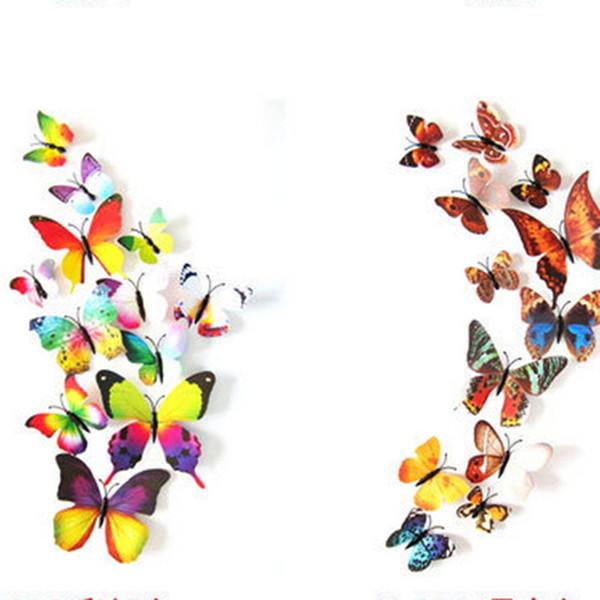 Etiquetas Decorativas de Pared 12 Piezas / set Decals 3D Kids Butterfly Rooms Adhesivo a Decoración de Pared Decoración de Hogar Desprendible