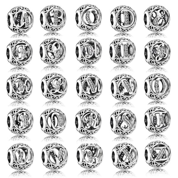 26 initials A-Z English letter metal alloy 925 silver beads for Pandora bracelet women diy fashion jewelry with rhinestones