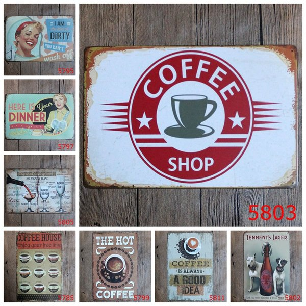 Coffee House Wine Vintage Craft Tin Sign Retro Metal Painting Poster Bar Pub Signs Wall Art Sticker