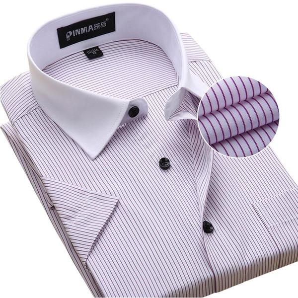 Wholesale- New Brand 2017 Summer Men Short Sleeve Shirt Striped Fashion White Collar Business Casual Shirt Large Work Wear Men Dress Shirt