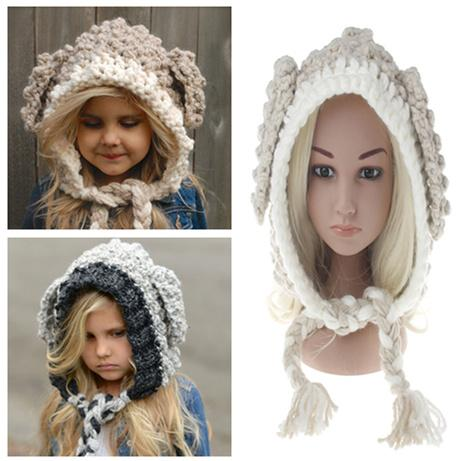 INS Baby BUNNY EARS Hats Handmade Kids Winter Hats Wrap Lamp Caps Cute Autumn Children Wool Knitted Hats 2 Colors LC651
