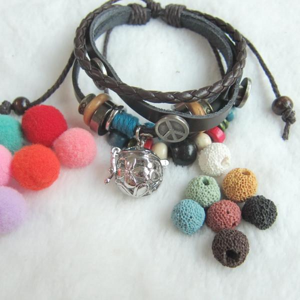 Atacado- handmade multi talão encantos bracelete diy lava e bolas de feltro difusor de óleo essencial medalhão pulseira de couro pingente