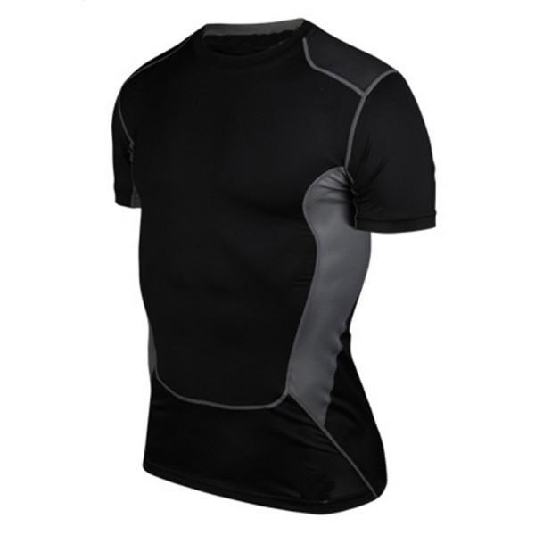 Wholesale- Hot Sale Men Compression Base Layer Short Sleeve Under Shirt Skin Tight Tops Body