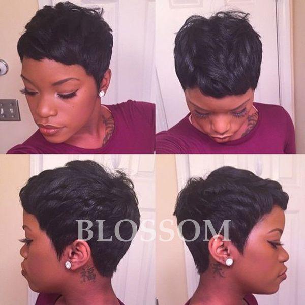 New Sale 130% density none full lace wig Glueless Brazilian virgin Human Natural Hair Short Wigs For Black Women